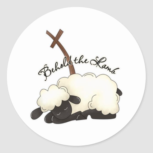 Lamb with crucifix Behold the Lamb Stickers