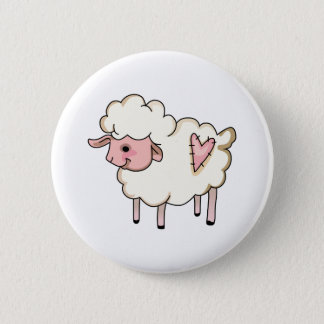LAMB WITH HEART 6 CM ROUND BADGE