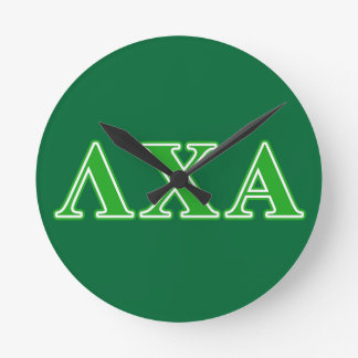 Lambda Chi Alpha Green Letters Round Clock