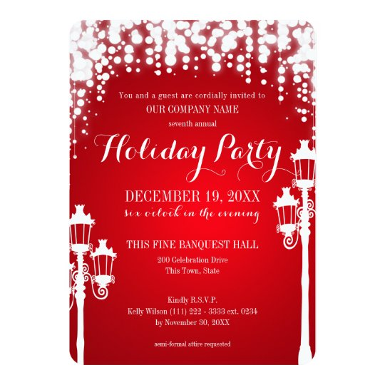 Lamp Post Sparkle Red Holiday Party Corporate Card