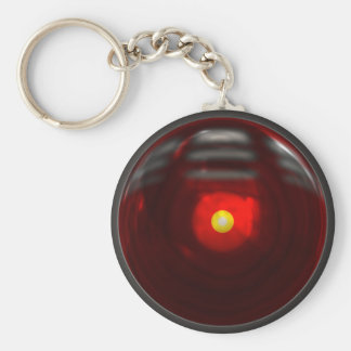 Lamp red basic round button key ring