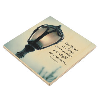 Lamp unto my Feet, Light unto my Path Bible Verse Wood Coaster