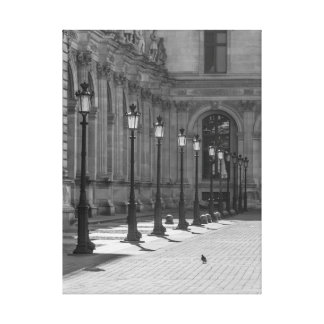 Lampposts in black and white canvas print