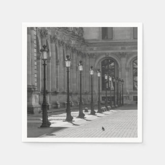 Lampposts in black and white disposable serviette