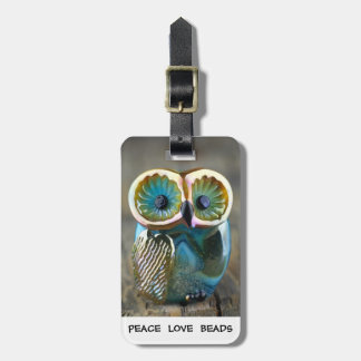 Lampwork owl bead luggage tag