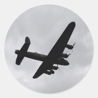Lancaster Bomber Overhead Round Sticker
