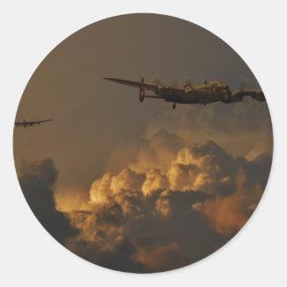 Lancaster bomber STORM Round Sticker