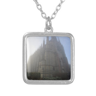 Lancing Chapel in the mist, West Sussex, England, Silver Plated Necklace
