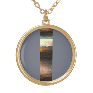 Land Abstract  Strip Design Gold Plated Necklace