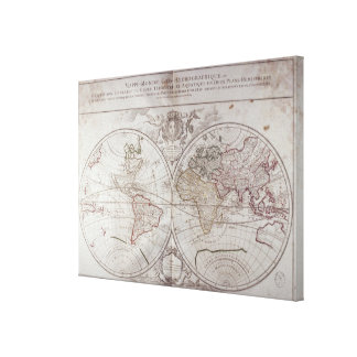 Land and Water Map Canvas Print