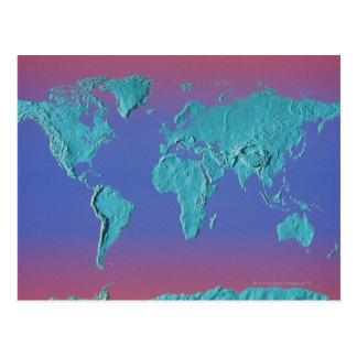 Land Mass Map Postcard
