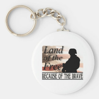 Land of the Free Because of the Brave Basic Round Button Key Ring
