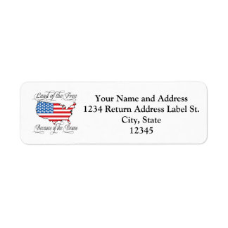 Land of the Free because of the Brave Patriotic US Return Address Label