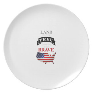 Land of the free because of the brave plate