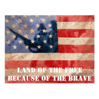 Land of the Free Because of the Brave Postcard
