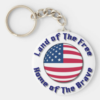 Land of The Free Basic Round Button Key Ring