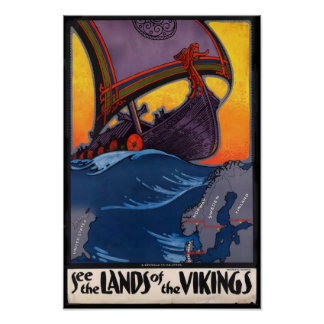 Land of the Vikings Vintage Poster