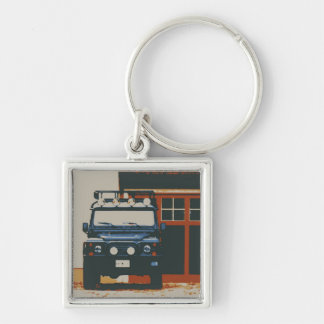 Land Rover Defender 90 - TIMELESS Silver-Colored Square Key Ring
