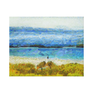 Land strip in water canvas print
