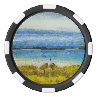 Land strip in water poker chips