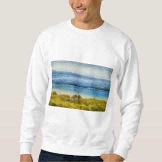 Land strip in water sweatshirt