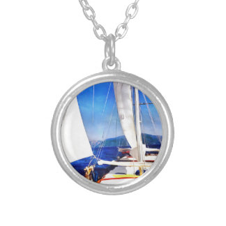 Land Was Created For Boats To Visit Silver Plated Necklace