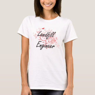 Landfill Engineer Artistic Job Design with Butterf T-Shirt