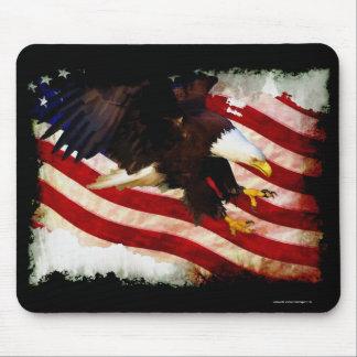Landing Bald Eagles & U.S. Flag Patriotic Mousemat