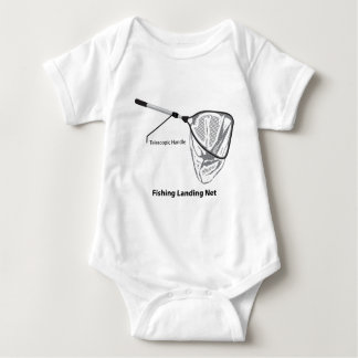 Landing net for fishing illustration marked baby bodysuit