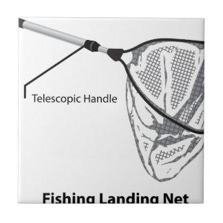 Landing net for fishing illustration marked ceramic tile