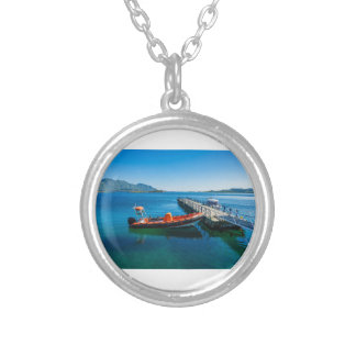 Landing stag and speed boat silver plated necklace