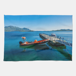 Landing stag and speed boat tea towel