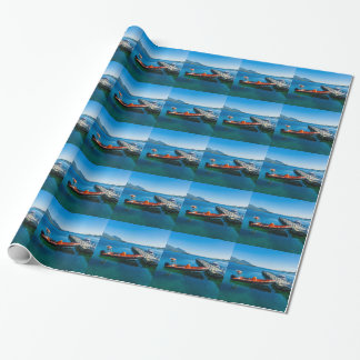 Landing stag and speed boat wrapping paper