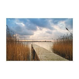 Landing stage on a lake canvas print
