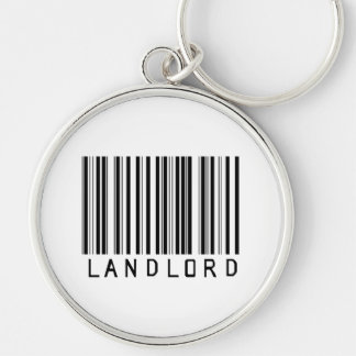 Landlord Bar Code Silver-Colored Round Key Ring
