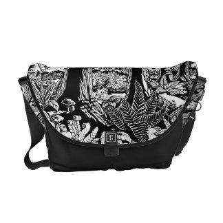 Landscape Art Messenger Bag B&W Forest Art Bags