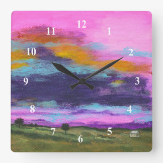 Landscape Art Painting Pink Sunset Tiny Farm House Square Wall Clock
