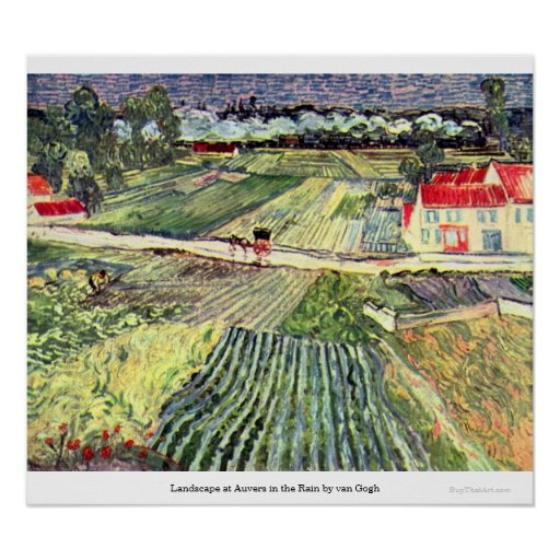Landscape at Auvers in the Rain by van Gogh Print