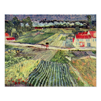 Landscape at Auvers in the Rain by van Gogh Poster