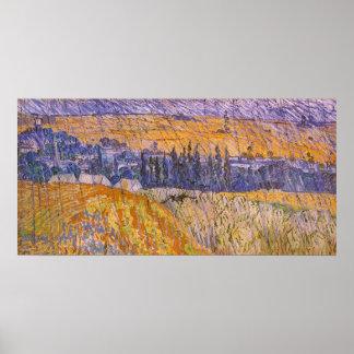 Landscape at Auvers in the Rain, Vincent van Gogh Poster