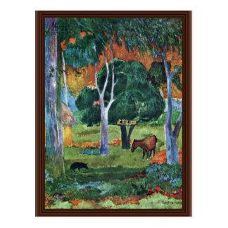 Landscape At La Dominique (Hiva Oa) By Gauguin Pau Postcard