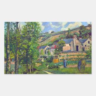 Landscape at Pontoise by Camille Pissarro Rectangular Sticker