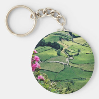 Landscape at Sao Miguel Acores Islands flowers Keychains