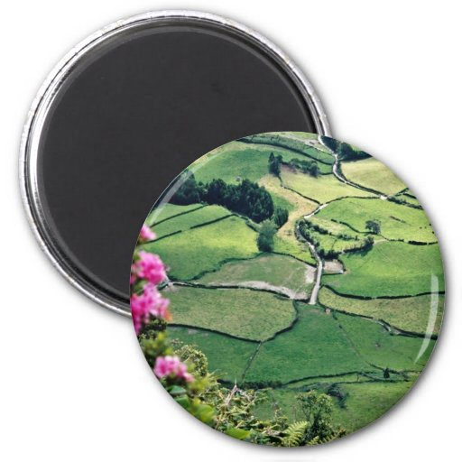 Landscape at Sao Miguel, Acores Islands  flowers Magnets
