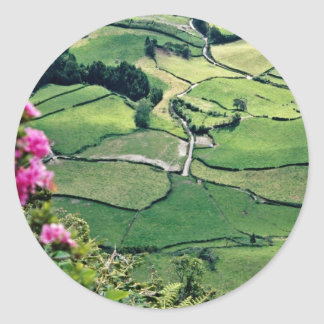 Landscape at Sao Miguel Acores Islands flowers Round Stickers