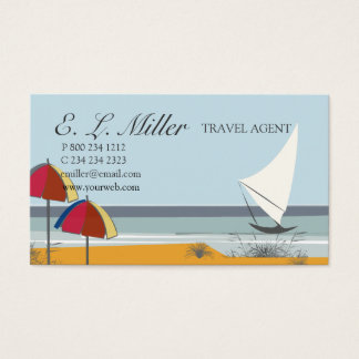 Landscape Boat Sailboat Ocean Vacation  Travel Business Card