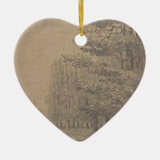 Landscape creation of Jesus Christ Ceramic Heart Decoration