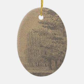 Landscape creation of Jesus Christ Ceramic Oval Decoration