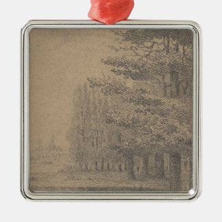 Landscape creation of Jesus Christ Silver-Colored Square Decoration