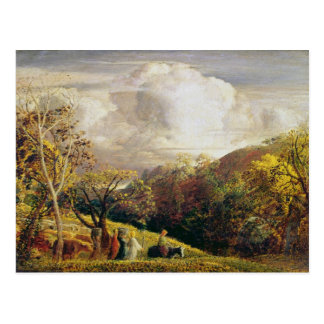 Landscape, figures and cattle postcard